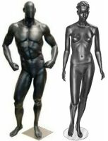 Black Mannequins,  Solid Black Male Mannequin, Glossy Black Fashion Mannequins